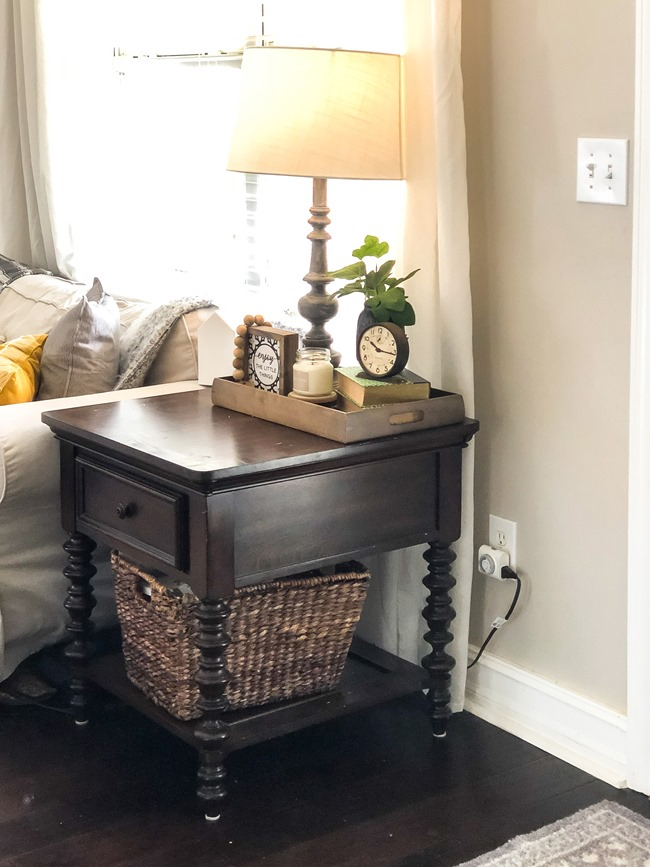 End table makeover with milk paint and stain-2