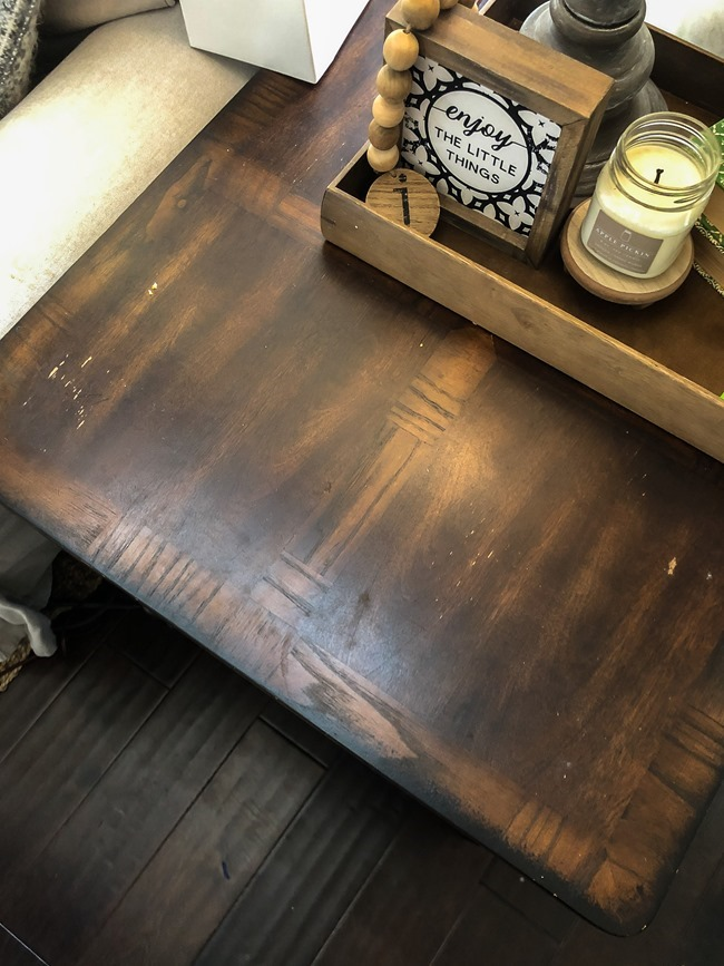 End table makeover with milk paint and stain-3