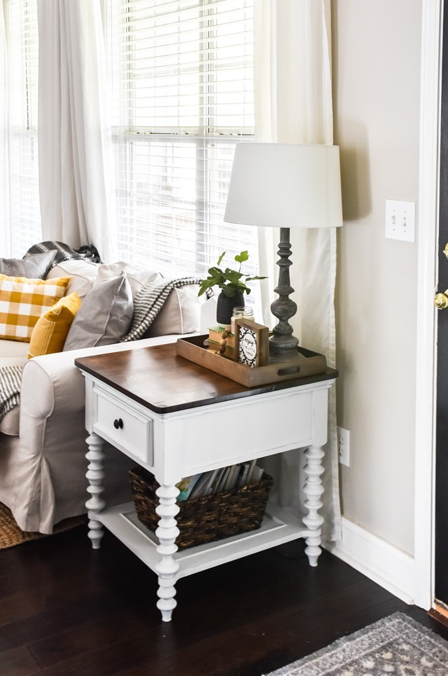 End table makeover with milk paint and stain-6