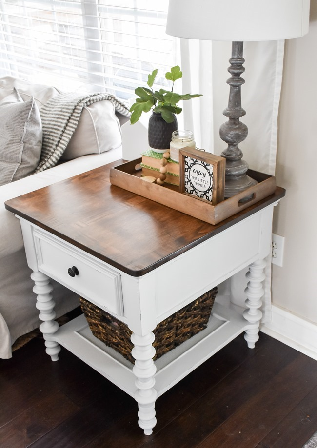 End table makeover with milk paint and stain-9