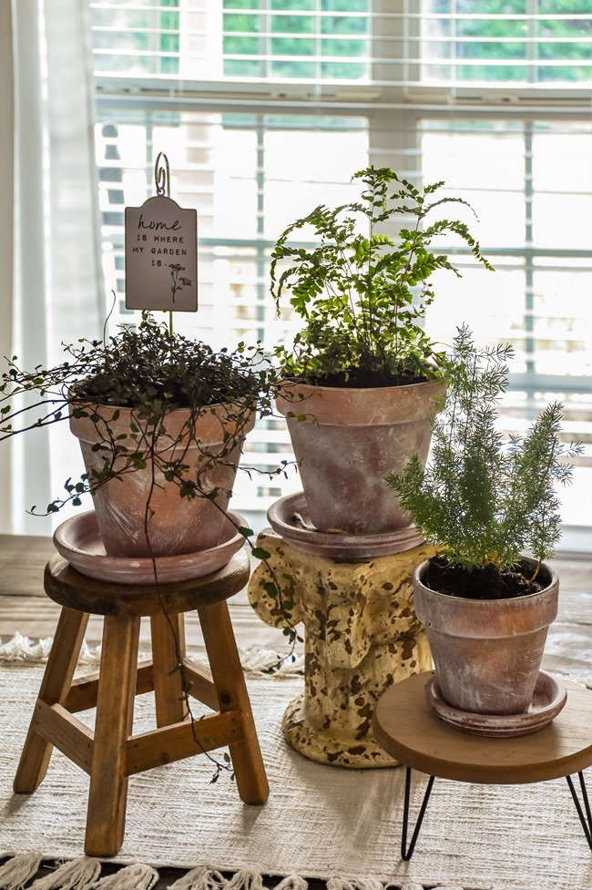 How to age Terra Cotta pots plus a simple spring centerpiece-18