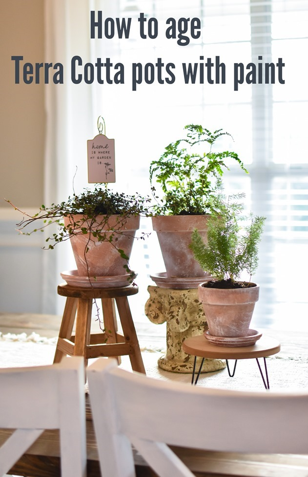 How to age Terra Cotta pots with paint plus a simple spring centerpiece