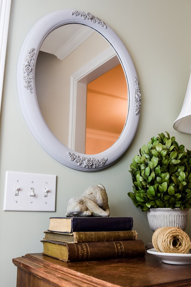 updated mirror frame with chalked paint