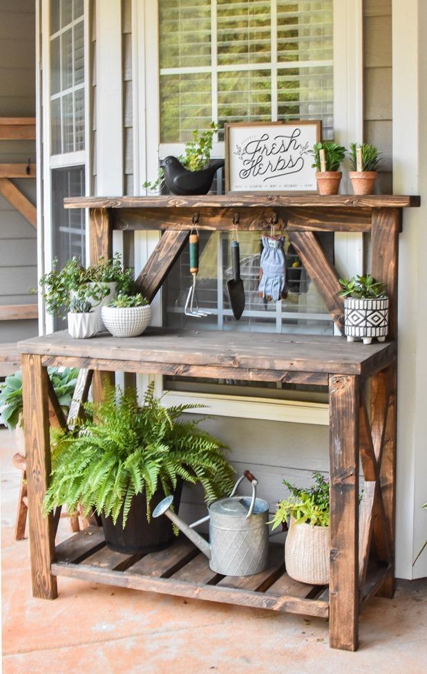 DIY Farmhouse Potting Bench-13