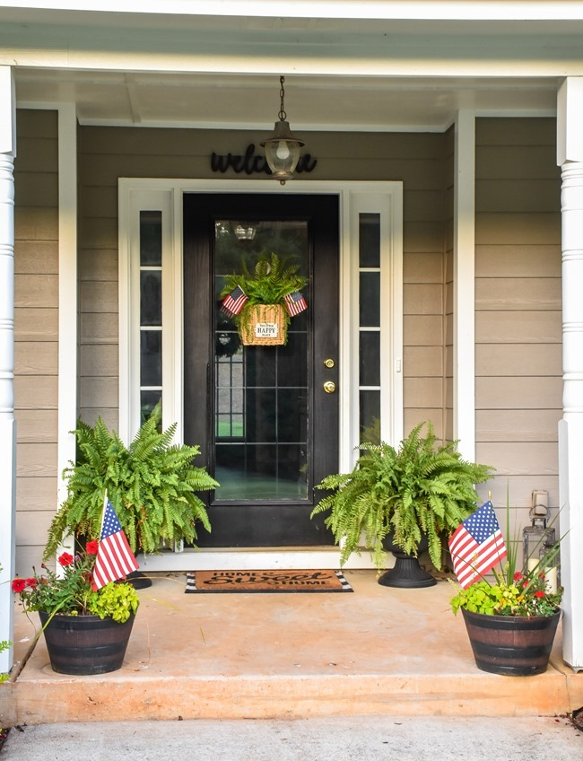 Summer Patriotic Front Door Basket-8
