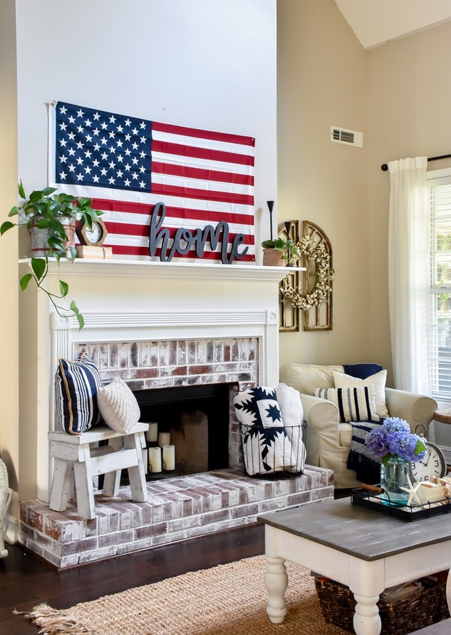 Summer Patriotic Mantel and Home Tour-11