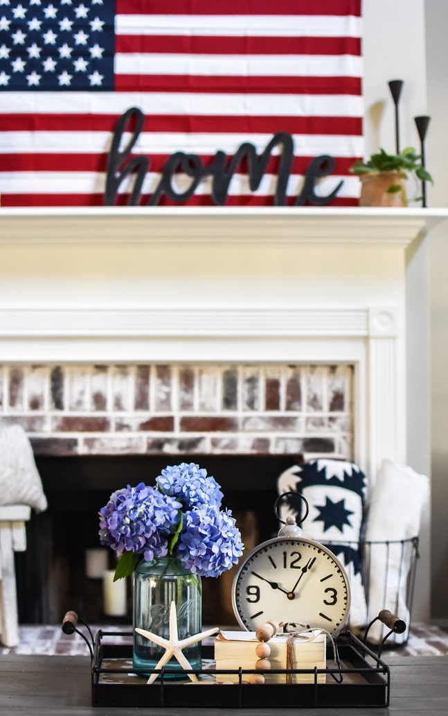 Summer Patriotic Mantel and Home Tour-18
