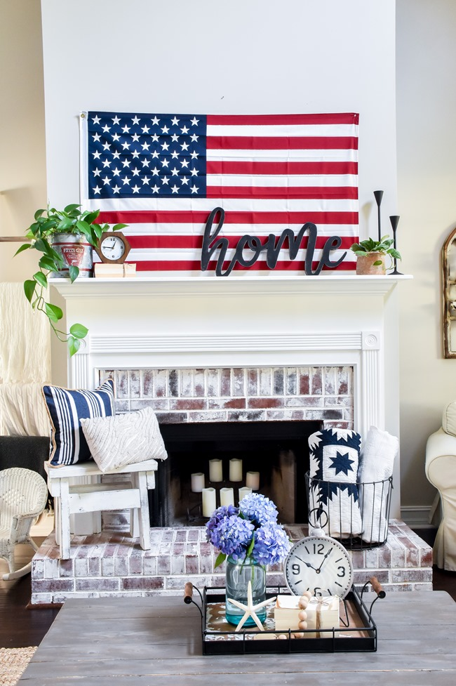 Summer Patriotic Mantel and Home Tour-3