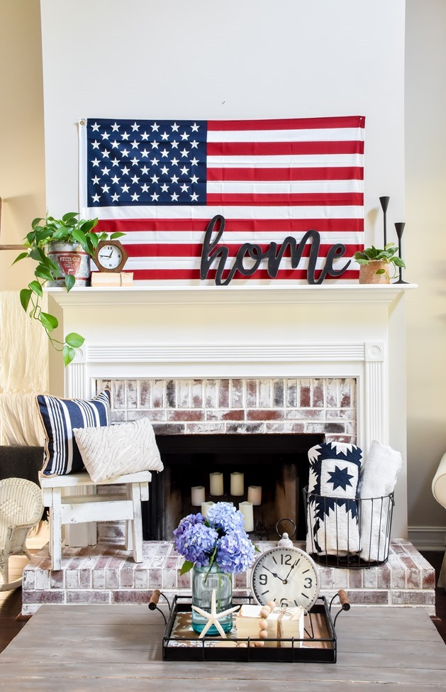 Summer Patriotic Mantel and Home Tour-7