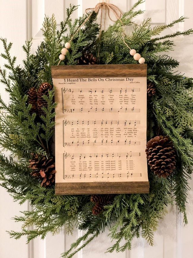 How to make a DIY Christmas music page wall hanging or ornament-23