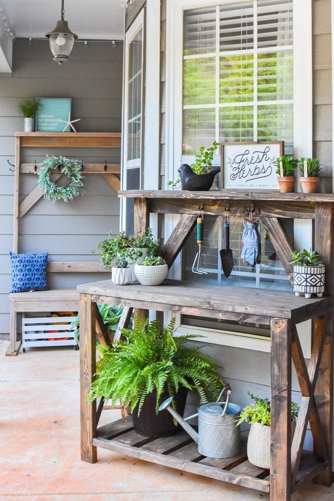 DIY Farmhouse Potting Bench-7