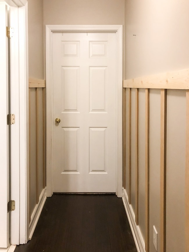 How to install board and batten trim in a hallway-1