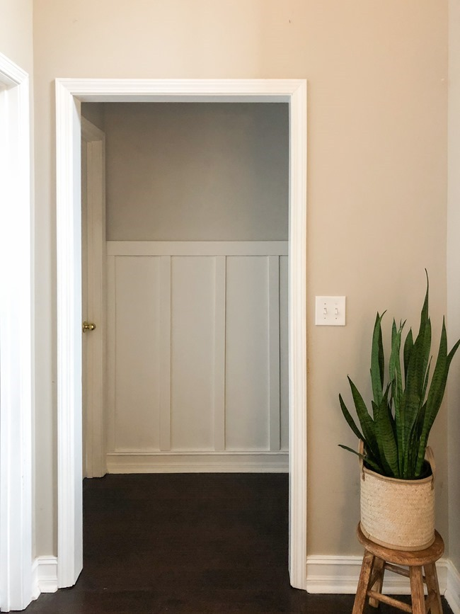 How to install board and batten trim in a hallway-11