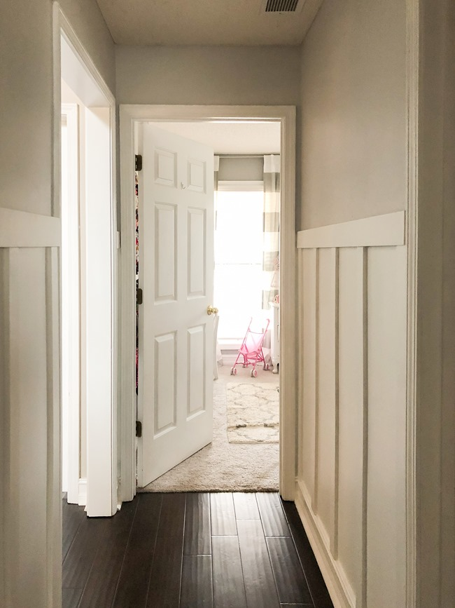 How to install board and batten trim in a hallway-13