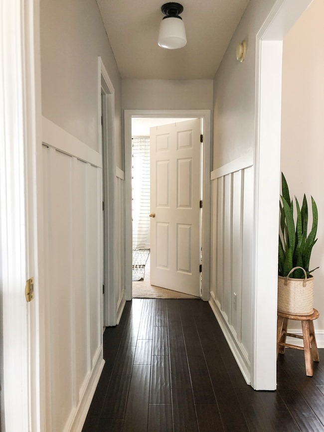 How to install board and batten trim in a hallway-14