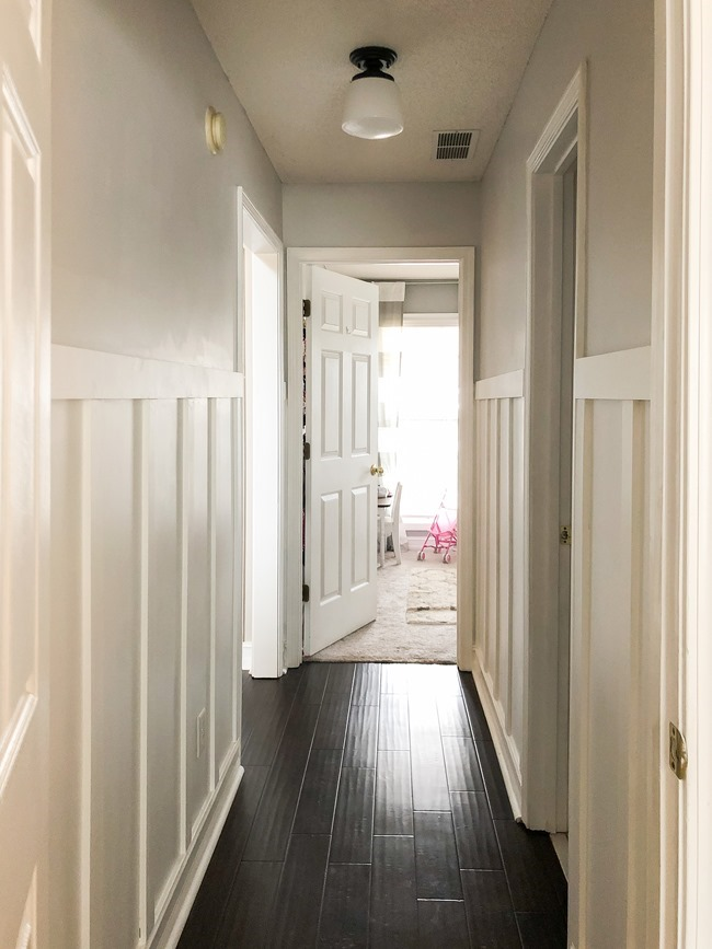 How to install board and batten trim in a hallway-16