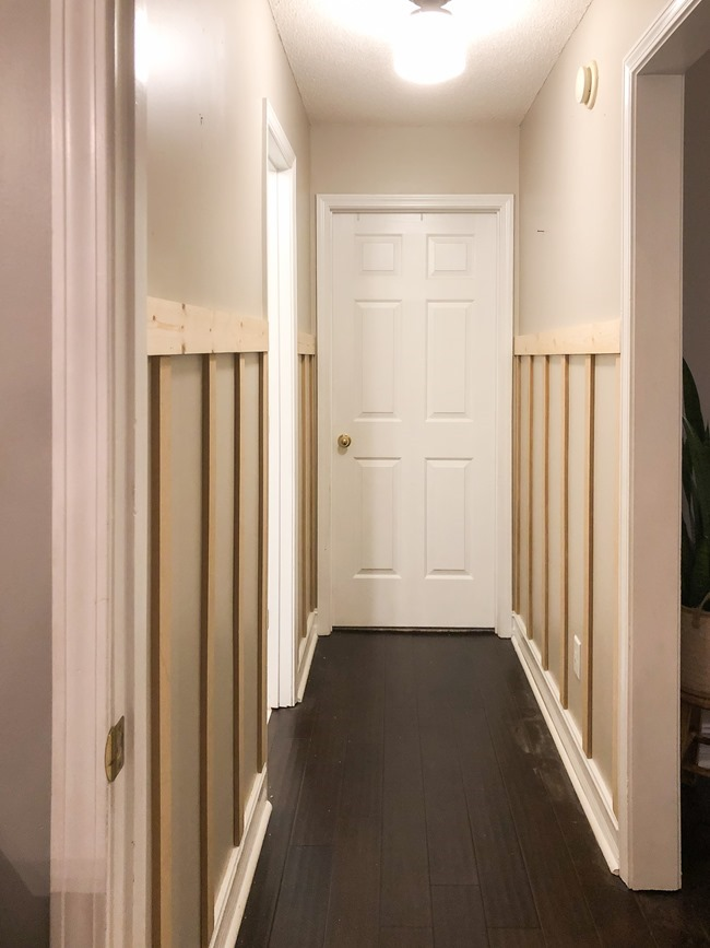 How to install board and batten trim in a hallway-2