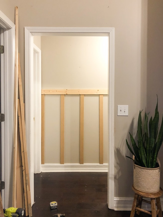 How to install board and batten trim in a hallway-4