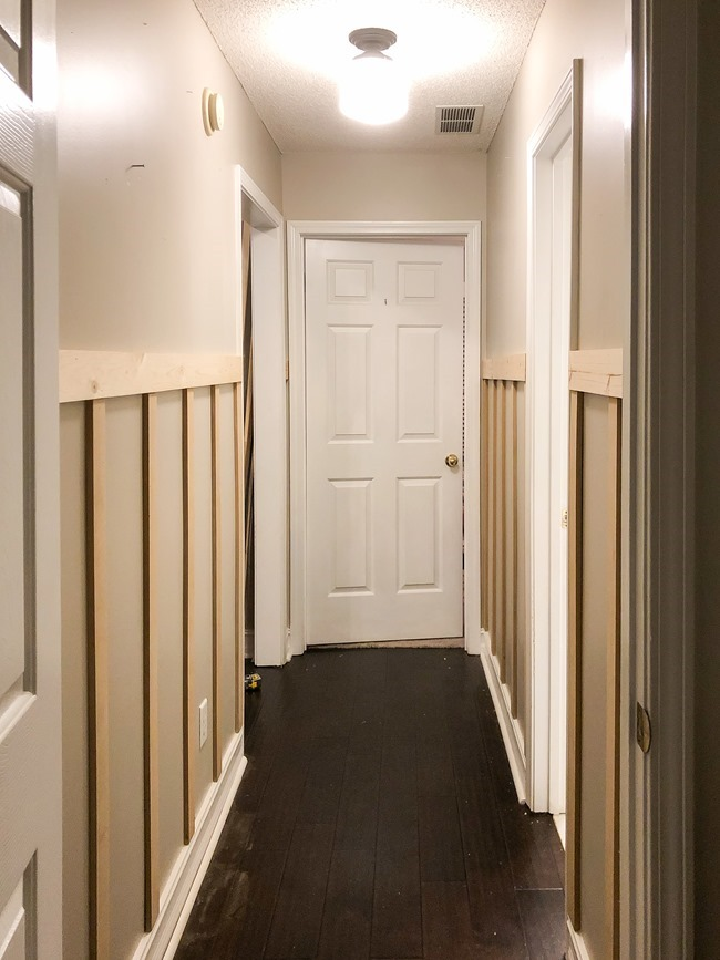 How to install board and batten trim in a hallway-5