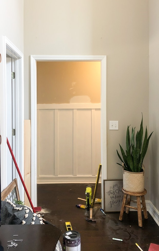 How to install board and batten trim in a hallway-7