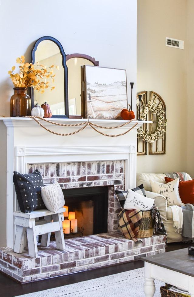Modern farmhouse Fall mantel and living room decor-19