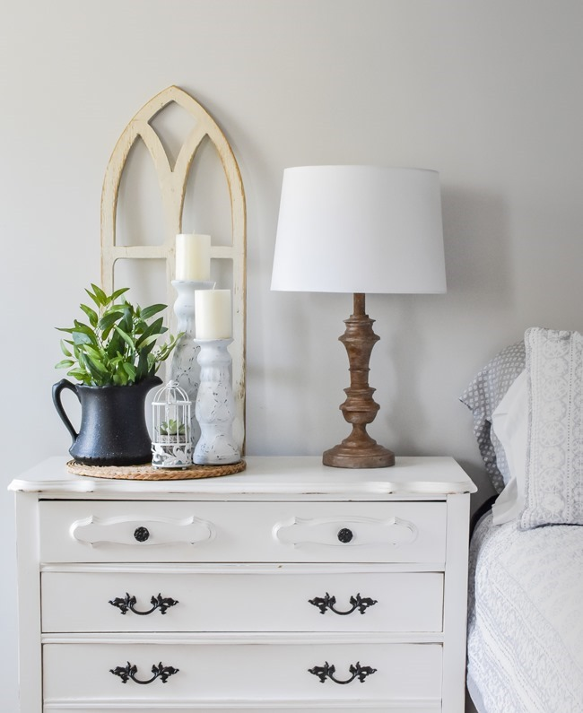 Spring Nightstand decor refresh with Rustoleum spray paint and Joann-19