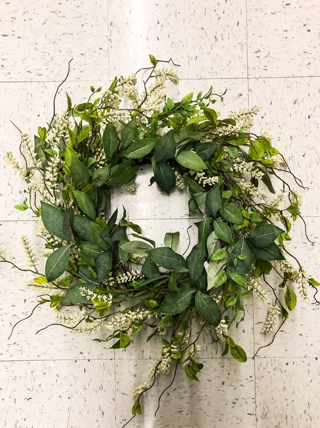 Green and White DIY Simple Spring Wreath-5
