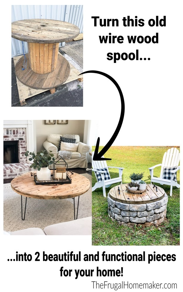 Turn an old wire wood spool into a coffee table and firepit cover