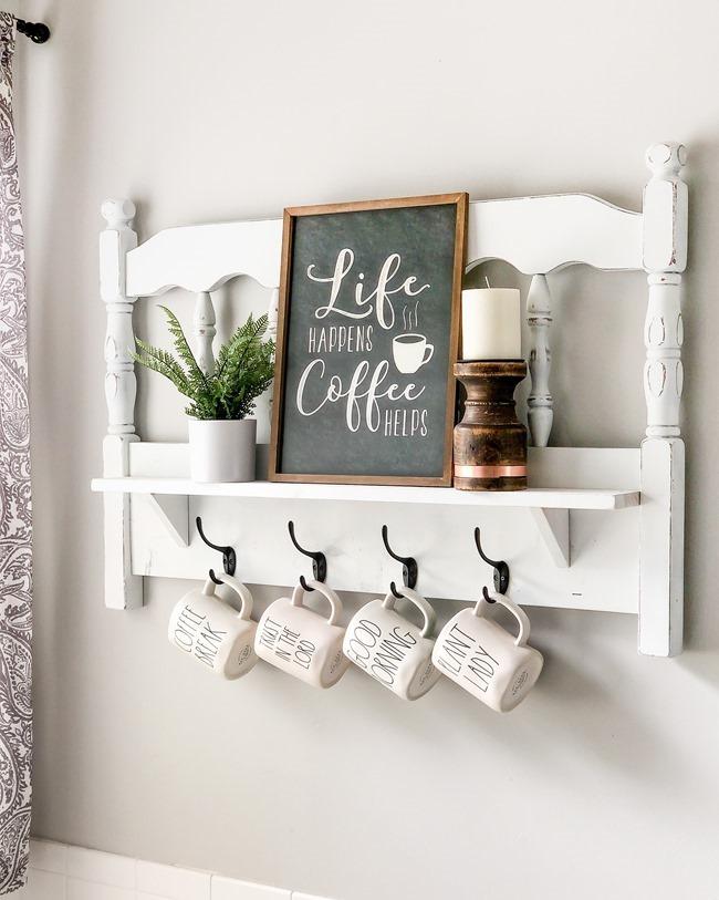 Repurposed headboard turned coffee bar shelf-1
