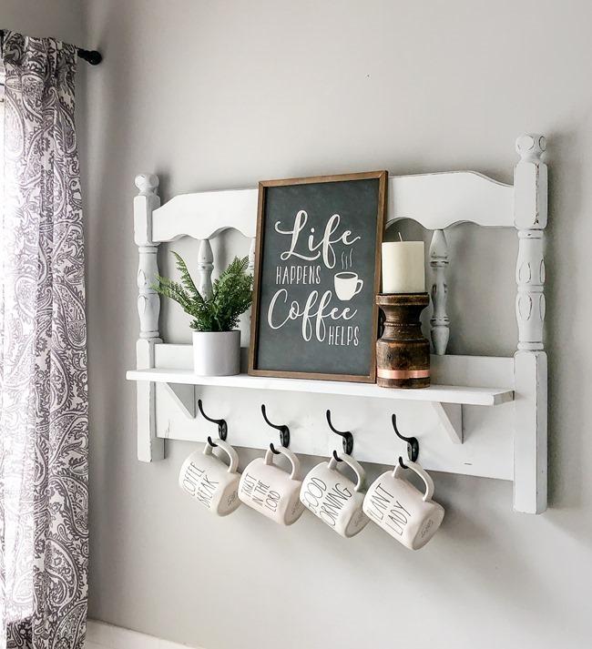 Repurposed headboard turned coffee bar shelf-2