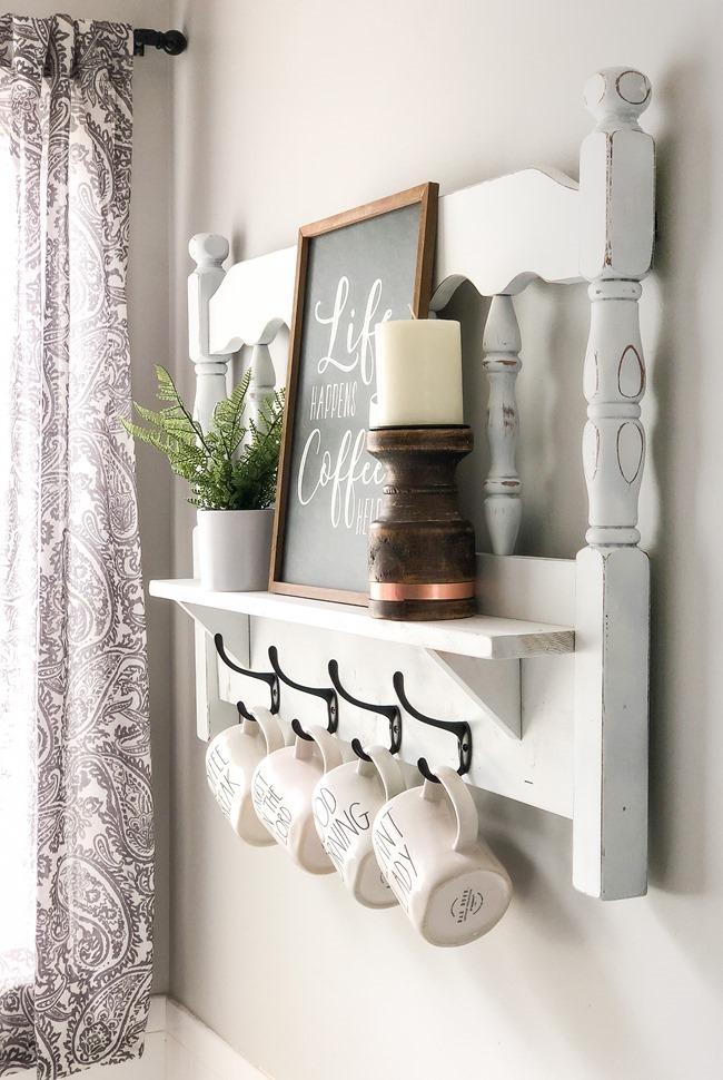 Repurposed headboard turned coffee bar shelf-4