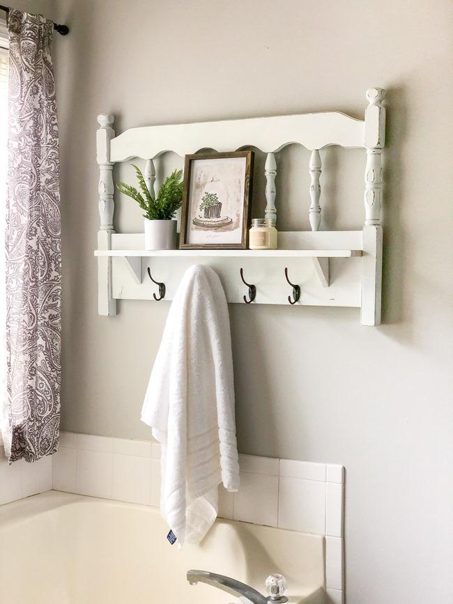 Repurposed headboard turned towel rack and shelf-3
