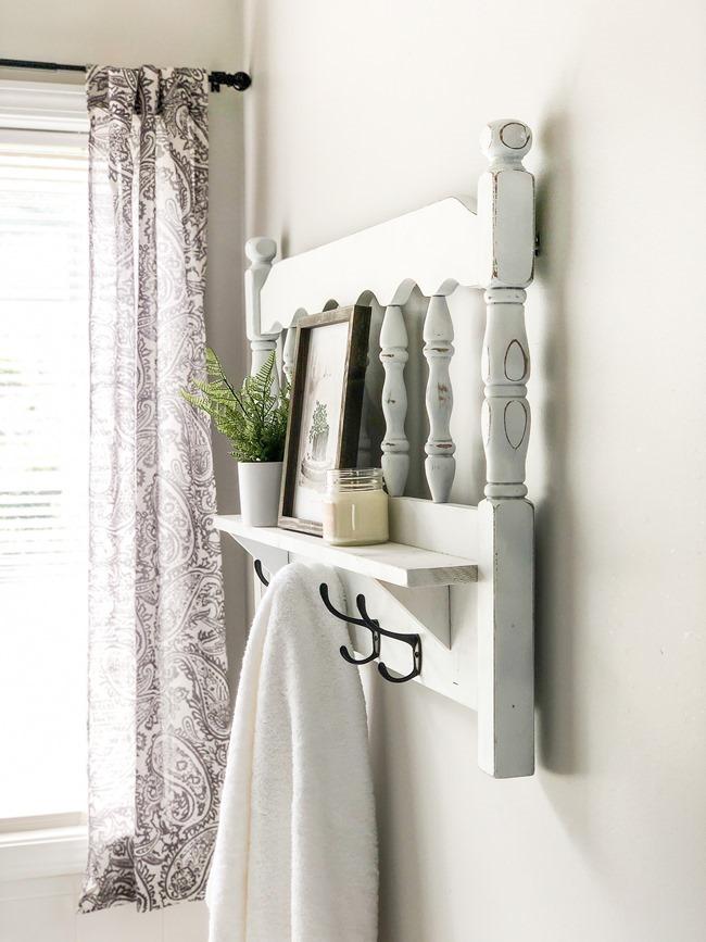 Repurposed headboard turned towel rack and shelf-7