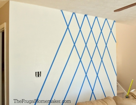 How To Paint A Diamond Accent Wall Using Scotchblue Painter S Tape The Frugal Homemaker