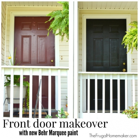 Front Door Makeover With New Behr Marquee Paint The Frugal Homemaker