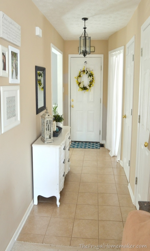 Entryway Before And After Beige To Greige With Behr Paint The Frugal Homemaker