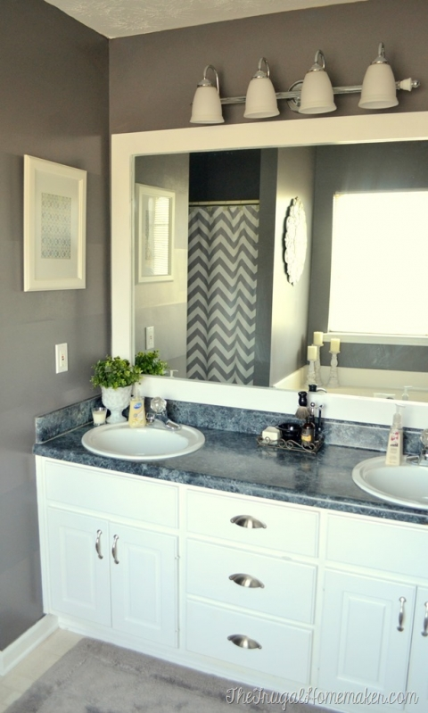 Frame A Bathroom Mirror | How To Frame Out That Builder Basic Bathroom Mirror For 20