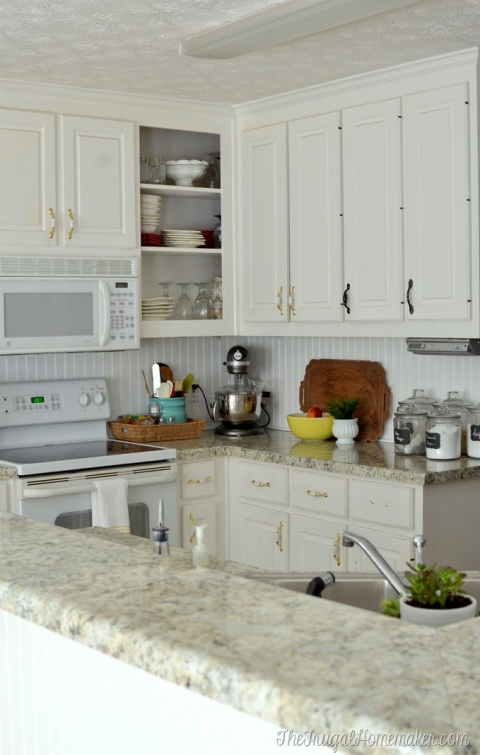 How To Install A Diy Beadboard Backsplash Kitchen Makeover The Frugal Homemaker