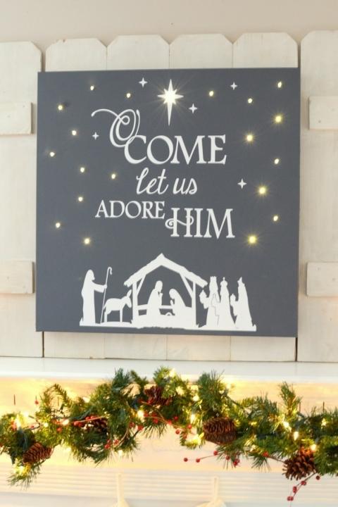 Diy Lighted Christmas Canvas Art The Frugal Homemaker