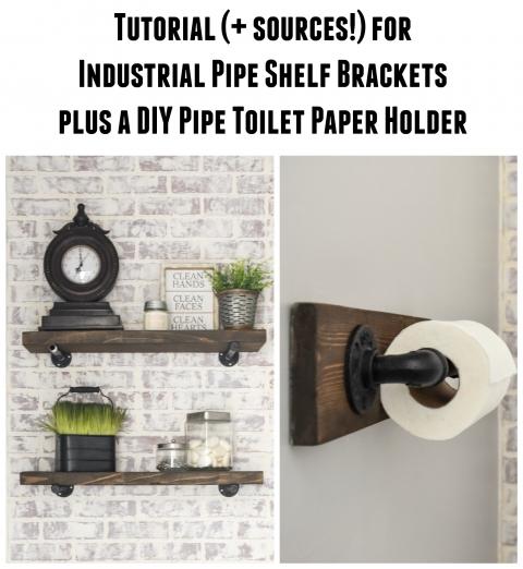 DIY Rustic Wood Shelves + DIY toilet paper holder made with ...