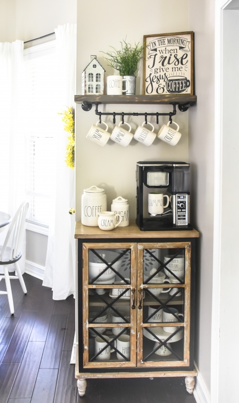 Farmhouse Coffee Bar With Diy Floating Shelf And Mug Rack The Frugal Homemaker