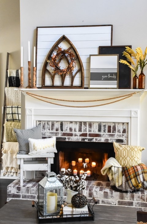 Layered Farmhouse Style Fall Mantel The Frugal Homemaker